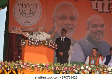 Allahabad,India-February20:PM Narendra Modi address public on february20,2017 in Allahabad.Fourth Phase voting of Uttar Pradesh election 2017 will take place on february 23 in 12 districts.