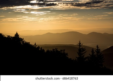 Allegheny Mountains of eastern West Virginia during sunrise. View from Dolly Sods Wilderness, also known as Bear Rocks Nature Preserve.