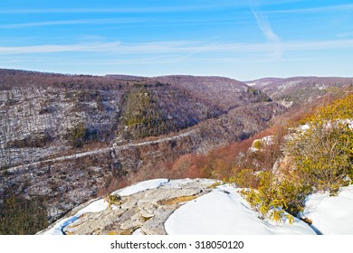 Allegheny Mountains range in West Virginia in winter. The road along mountain side in the park.