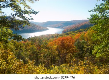 Allegheny National Forest in fall and reservoir lake