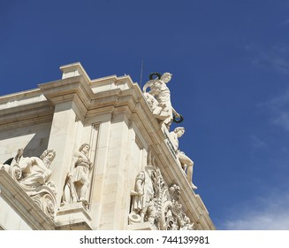 Allegorical Statues in the Arch of Rua Augusta in Commerce Square in Lisbon