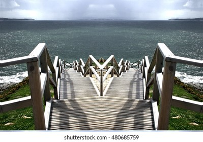 allegory of divorce, of rupture, of separation,allegory of doubt, Hamlet, indecision, vacillation dilemma,visual allegories, photographic  metaphors,Symmetrical landscape photography of the stairs,