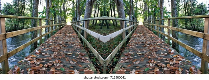 allegory of divorce, of rupture, of separation,allegory of doubt, Hamlet, indecision, vacillation dilemma,visual allegories, photographic  metaphors,symmetrical photograph of wooden path on a bridge