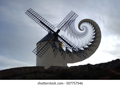 allegory of madness, surrealistic composition of windmills, places to grind grain that Don Quijote de la Mancha mistook for giants, visual allegories, visual metaphors, photographic allegories,