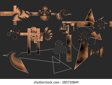 Allegory of the Pythagorean Theorem, tribute to the great mathematicians, spheres, triangles, circles, dark background and color gradient copper, abstract expressionism abstract, abstract surrealism