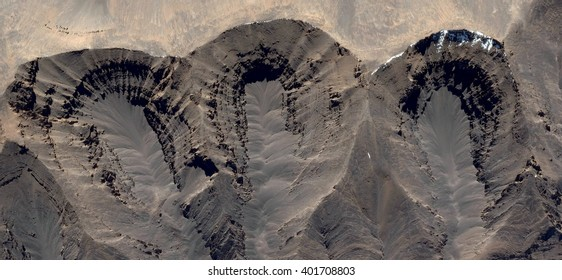 Allegory, three open tombs in the African desert, abstract photography of the deserts of Africa from the air, bird's eye view, abstract expressionism, contemporary art, optical illusions,