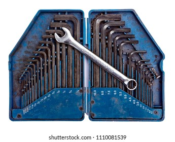 Allen Keys and spanner, isolated on white ground