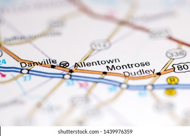 Allentown. Georgia. USA on a geography map