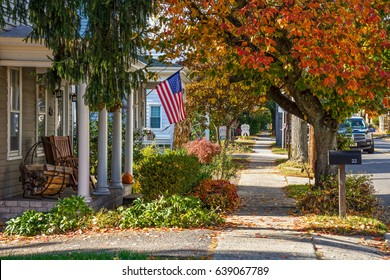 ALLENTOWN, NEW JERSEY, - NOVEMBER 5: Looking down the block of this quiet neighborhood during Autumn on November 5 2016 in Allentown NJ.