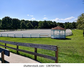 Allentown, NJ - August 23 2018: An equestrian ring on the grounds of the Horse Park of New Jersey