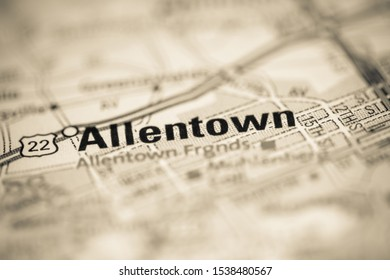 Allentown on a map of the United States of America