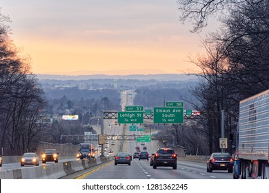 Allentown, PA/ USA - December 30 2018: Road trip at sunset