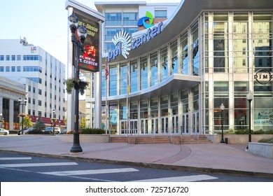 ALLENTOWN, PA, USA - October 1, 2017: The PPL Center, formerly the Pennsylvania Power and Light building is a 24-story skyscraper that serves as the headquarters of the PPL Corporation.