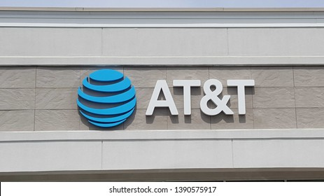 ALLENTOWN, PENNSYLVANIA, US - April 23, 2019: The AT&T logo adorns strip mall locations like this one in Allentown's West End.