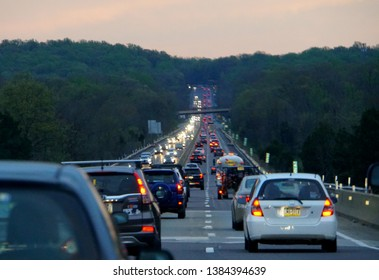 Allentown, Pennsylvania, U.S.A - April 26, 2019 - Traffic on early evening near Interstate 476 South towards Valley Forge and King of Prussia