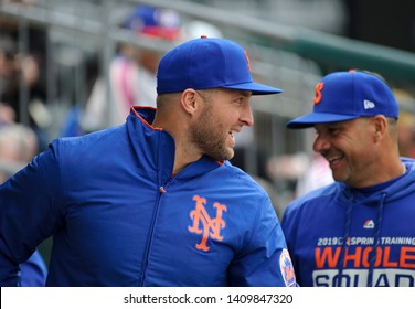 ALLENTOWN, PENNSYLVANIA / USA - APRIL 29, 2019: Syracuse Mets outfielder Tim Tebow appears in the dugout during a game against the Lehigh Valley IronPigs on at Coca-Cola-Park.