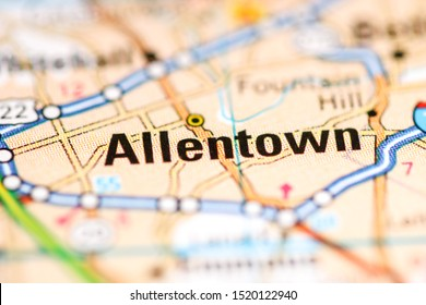 Allentown. Pennsylvania. USA on a geography map