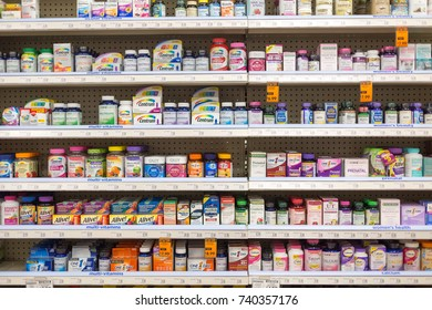Allentown Pennsylvania-October 20, 2017 :A variety of vitamin tablets in the pharmacy shelf