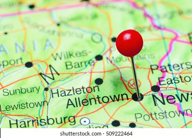 Allentown pinned on a map of Pennsylvania, USA