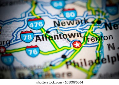 Allentown. USA on a map.