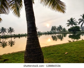 Allepey, Kerala, India, December 15, 2018: Refreshing sunrise view having cocunut trees and water bodies