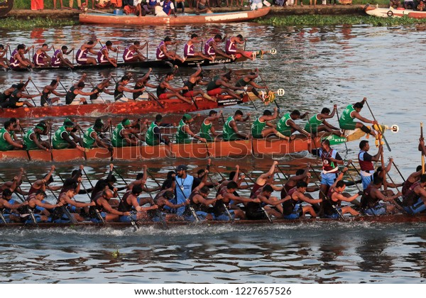 ALLEPPEY, INDIA - NOV 10 :Snake boat teams compete in the Nehru Trophy Boat race on November 10, 2018 in Alleppey, Kerala, India.Nehru Trophy Boat race is a popular water sport event in Kerala.