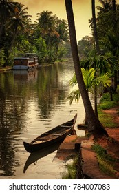 Alleppey, Kerala, India - October 15, 2007 : Network of backwater canals plays very important role in  transportation and tourism in this part of Kerala,