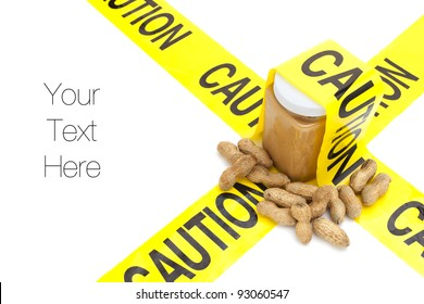 Allergic to peanuts, jar of peanut butter with raw peanuts with yellow caution tape, isolated on white, copy space