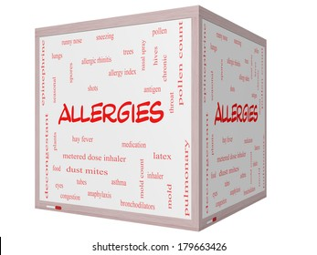 Allergies Word Cloud Concept on a 3D cube Whiteboard with great terms such as food, pollen, mold and more.