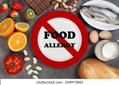 Allergy food concept. Foods, fruits, vegetables and empty plate with a road sign drawing