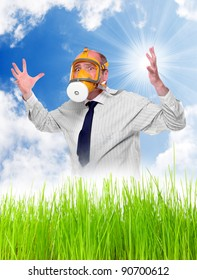Allergy to pollen concept. Young man with protection mask in blooming grass.