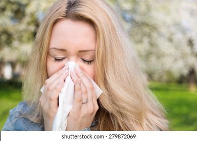 Allergy, woman, springtime