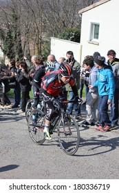ALLEX, FRANCE - MAR 02: Cadel Evans, former world champion and Tour de France winner riding La Classic Drome UCI Europe Tour on March 02, 2014 in Allex Hill, Drome, France. Romain Bardet won the race.
