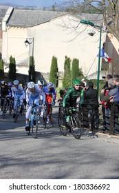 ALLEX, FRANCE - MAR 02: Cyril Gautier and Arthur Vichot riding La Classic Drome UCI Europe Tour Pro Race on March 02, 2014 in Allex Hill, Drome, France. Romain Bardet won the race.