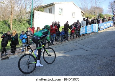ALLEX, FRANCE - MAR 02: Thomas Voeckler, Europcar, riding La Classic Drome UCI Europe Tour Pro Race on March 02, 2014 in Allex Hill, Drome, France. Romain Bardet won the race.