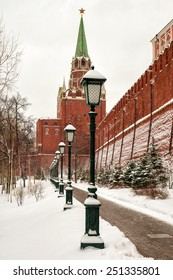 Alley Alexander Garden near the walls of the Moscow Kremlin, Russia (winter view)