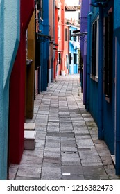 Alley in the colorful city of Burano