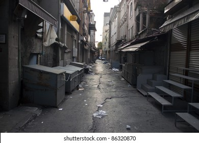 Alley with a garbage in Istanbul, Turkey