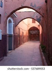 Alley leading through medina in Marrakech, Morocco