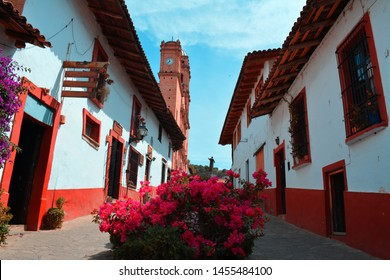 Alley in magic town of Mexico, foreground na bugambilia plant, doors and windows with colorful frames, in the background cathedral, statue and rooftops