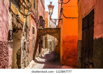 Alley in Marrakesh, the Morocco Red Imperial City.