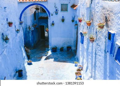 An alley in the medina of Chefchaouen, northwest Morocco. The town is famous for its buildings in shades of blue.
