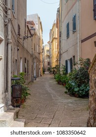 In the alley of the old town of Castelsardo in the north of Sardinia