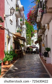 Alley in Old Town Marbella in Andalusia Spain.