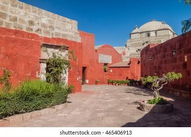 Alley in Santa Catalina monastery in Arequipa, Peru