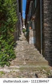alley in a small Italian village of Dervio by the Como lake