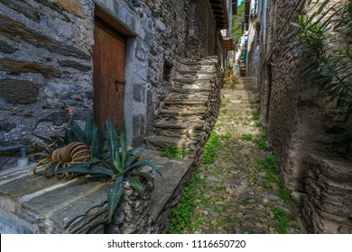 The alley in a small Italian village of Dervio by the Como lake