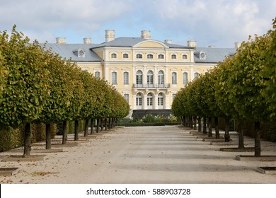 Alley of topiary green trees with hedge on a blue sky, Rundale palace background. Museum, Baroque style in Latvia. Rundale palace  in park