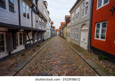 Alley with typical german house facades in Flensburg.