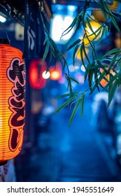 """Alley with typical japan lights in Tokyo,   written """"Yakitori"""" in japanese"""